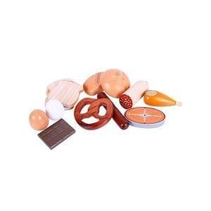 Drewniany zestaw produktów spożywczych