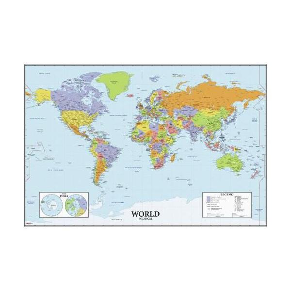 Roommates Naklejki do wielokrotnego przyklejania – Mapa świata – tablica suchościeralna