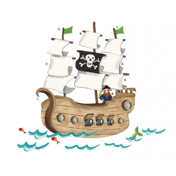 Naklejki do wielokrotnego przyklejania – statek piratów