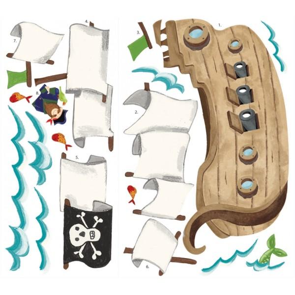 Naklejki do wielokrotnego przyklejania - statek piratów