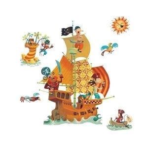 Djeco: naklejki na ścianę - statek piracki