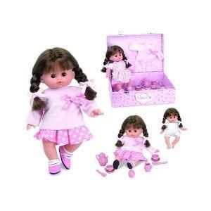 Petitcollin: lalka caline z walizką i serwisem do herbatki