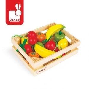janod: Owoce drewniane 12 szt. w skrzyneczce