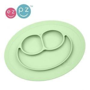 EZPZ Silikonowy talerzyk z podkładką 2w1 Mini Mat pastel zieleń