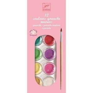 djeco: Farby akwarelowe 12 kolorów perłowych